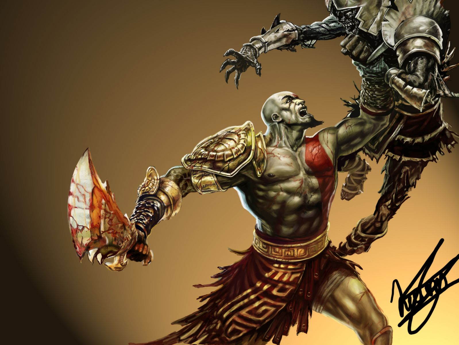 Mi Dibujo De Kratos (God Of War) Digital + Speed Painting